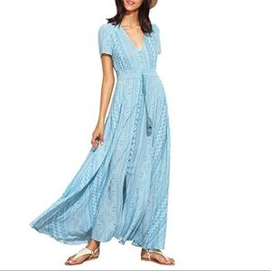 Dresses & Skirts - Button Up Light Blue Flowy Maxi Dress